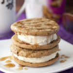 Coffee French Toast Ice Cream Sandwiches are French Toast-flavored ice cream in the middle of two delicious coffee-flavored brown sugar cookies and are drizzled with maple syrup.