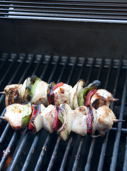 Grilled Honey Chicken Kabobs recipe for summer barbeque's, Memorial Day, and 4th of July.