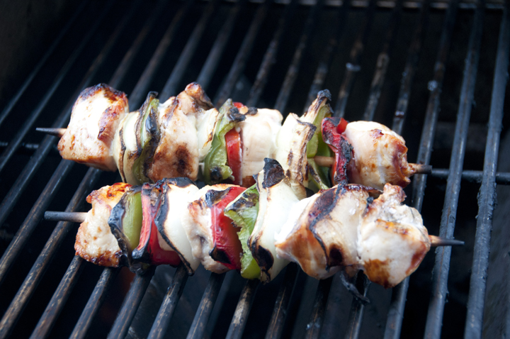 Grilled Honey Chicken Kabobs recipe for summer BBQ's.