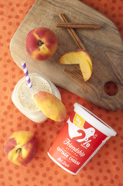 Thick, creamy Peach Pie Protein Shake recipe is a great post-workout treat that is healthy and good for recovery.