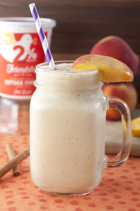 Nutritious, creamy Peach Pie Protein Shake recipe is a great post-workout treat that is a healthy breakfast, lunch or snack.
