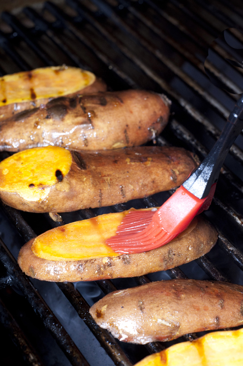 Grilling sweet potatoes for a healthy summer side dish for a picnic or barbeque.