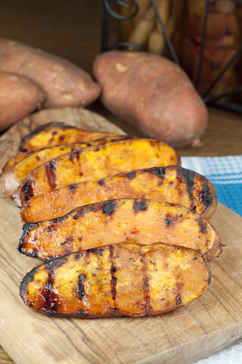 Grilled Sweet Potatoes with a sweet Cherry Glaze are the perfect addition to your summer cookout or BBQ. They are easy to make and the glaze will be your new favorite!