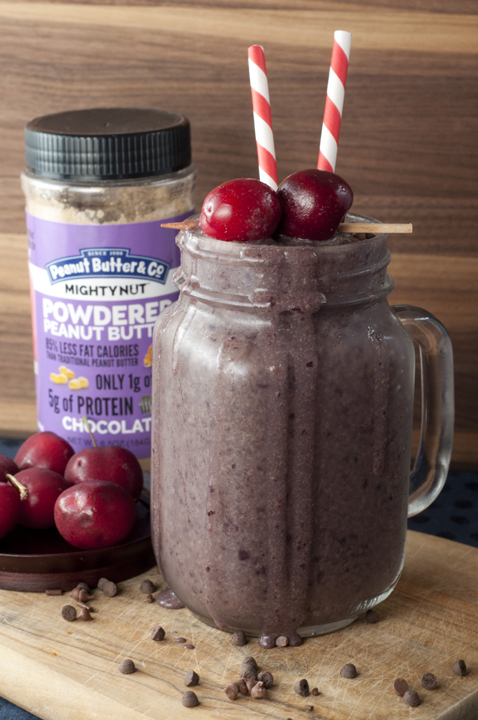 Healthy, rich and creamy Chocolate Covered Cherry Protein Smoothie recipe tastes like like a chocolate covered cherry in liquid form.