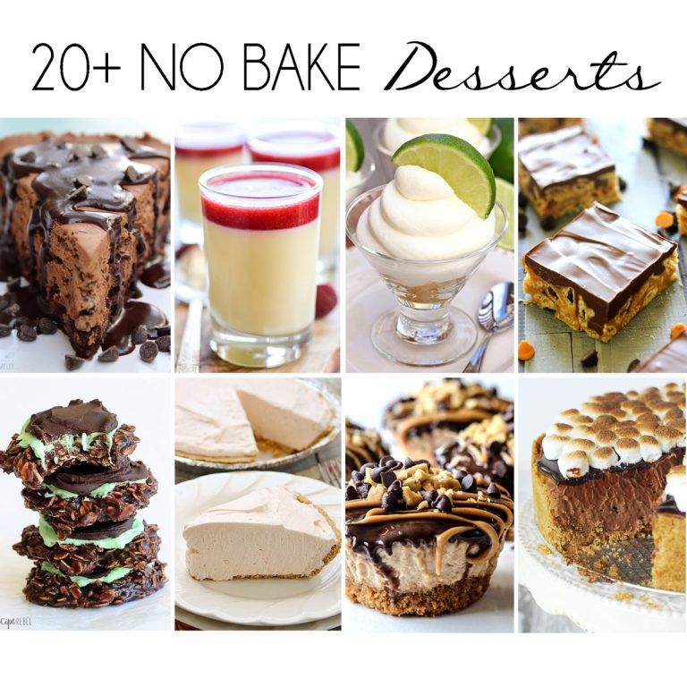20+ No Bake Dessert recipes - cookies, pies, cakes and more - for the heat of the summer!  No need to turn on your oven for these delicious treats.