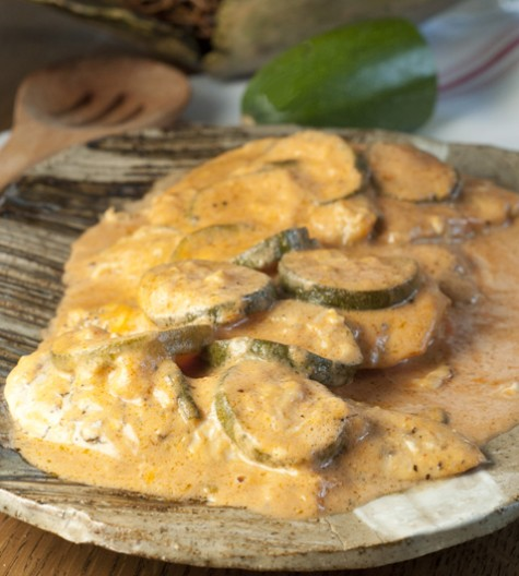 Creamy Italian Chicken and Zucchini Skillet all made in one pan with a delicious creamy tomato sauce. Serve this over pasta or rice for an easy weeknight dinner!