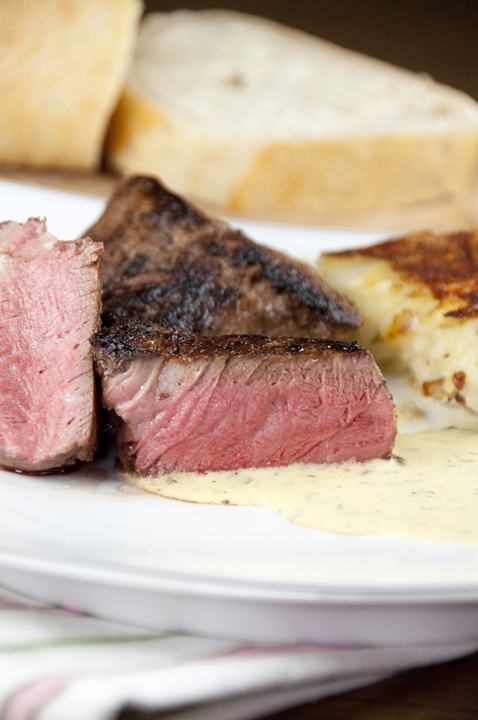 Filet Mignon with Blender Bearnaise Sauce recipe for a fancy dinner at home.