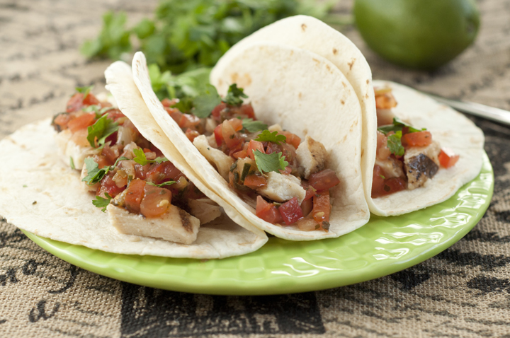 Easy, healthy Citrus marinated Grilled Chicken Fresco Soft Tacos recipe with homemade Pico de Gallo.