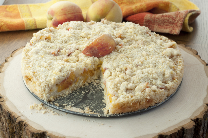 Italian Peach Crumb Cake recipe is a quick, easy dessert made with fresh peaches and great for summer or fall!