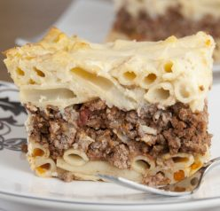 Layers of comfort food are baked to perfection in this Pastitsio, or Greek lasagna, recipe.
