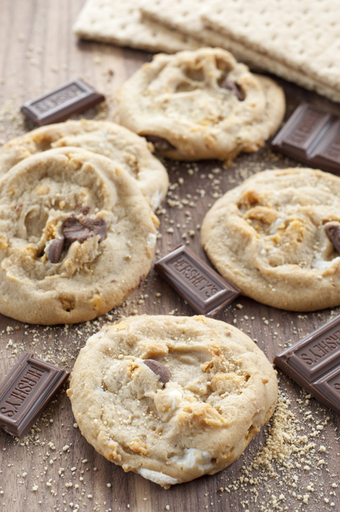 Chewy S'mores peanut butter cookies recipe loaded with melted ...