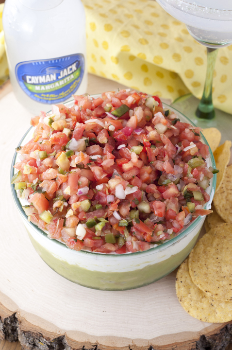 Loaded with guacamole, cheese, sour cream, and Pico de Gallo, this Triple Layer Mexican Party Dip is a fun appetizer for your next football party or taco night!