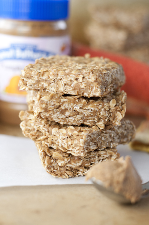 Easy recipe for No-Bake four Ingredient Pumpkin Spice Peanut Butter Oatmeal Bars.  Great fall dessert idea!