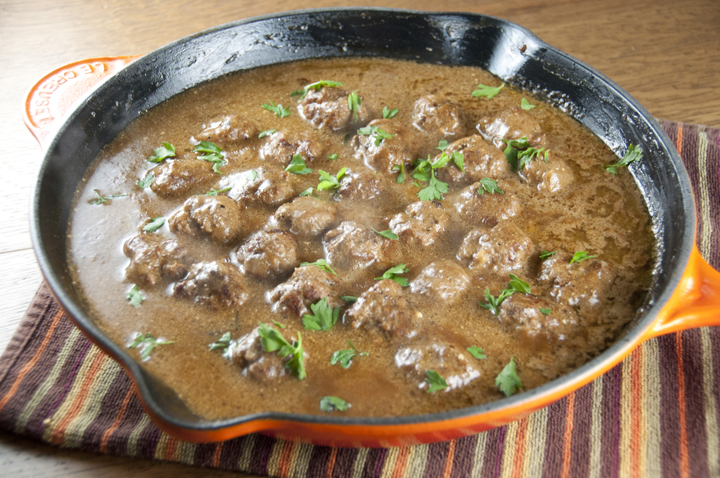Authentic recipe for Swedish Meatballs with Creamy Gravy made all in one skillet for a quick, easy dinner idea.