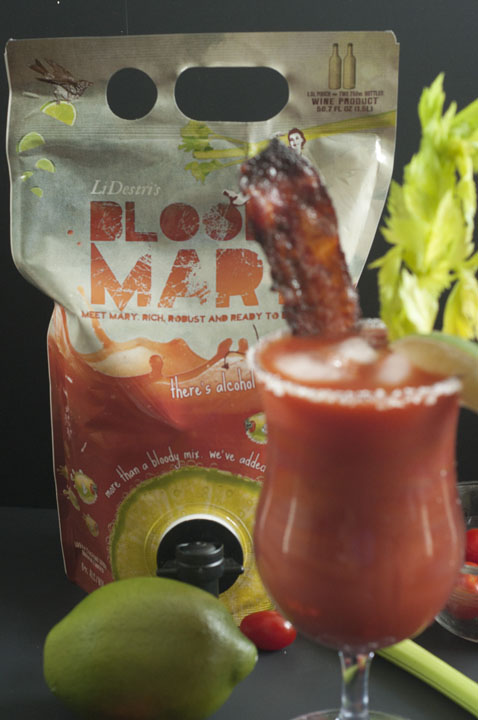 Recipe for a refreshing, spicy Candied Bacon Bloody Mary made with LiDestri Bloody Mary cocktail goes well with breakfast, brunch, or a big party.