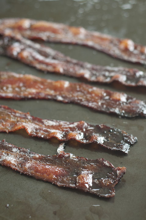 Candied Bacon made with brown sugar and baked in the oven.