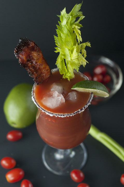 Recipe for a refreshing, spicy Candied Bacon Bloody Mary goes well with breakfast, brunch, or a party.