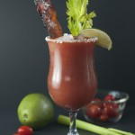 This refreshing Candied Bacon Bloody Mary is the perfect accompaniment to any breakfast or brunch favorites and is great to serve at a football party!