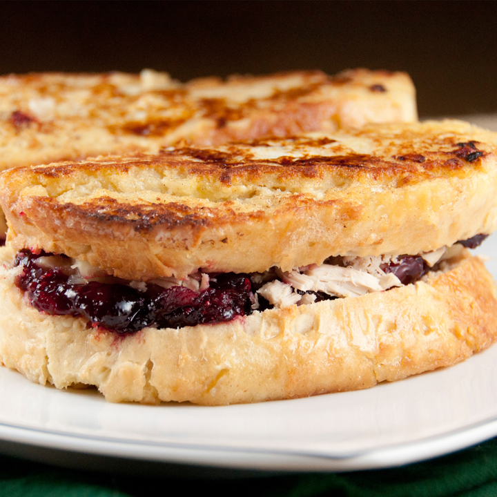 Leftover Turkey-Cranberry Monte Cristo Sandwich recipe for Turkey day leftovers.
