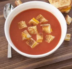 Easy Tomato Soup and Grilled Cheese Croutons is a creative lunch or dinner recipe that will warm you up on a cold day!