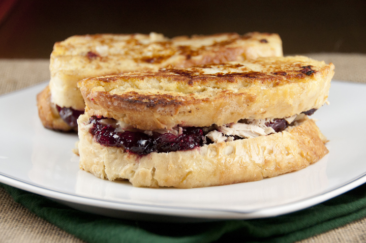 Turkey-Cranberry Monte Cristo Sandwich recipe made with Thanksgiving leftovers and great for the morning after.