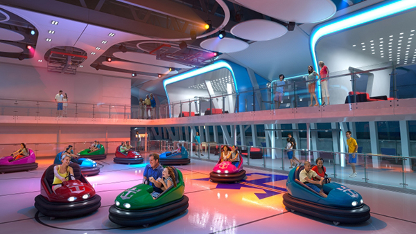 Bumper cars on board Anthem of the Seas.