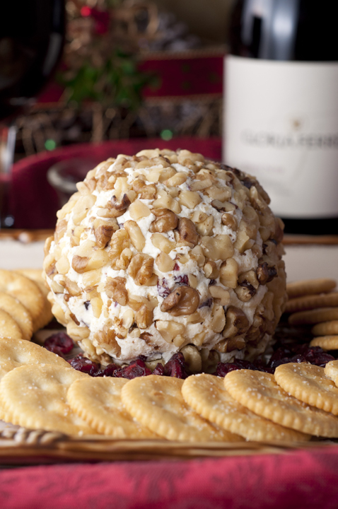 Cranberry Walnut Cheese Ball recipe made with only four ingredients for the perfect holiday appetizer.