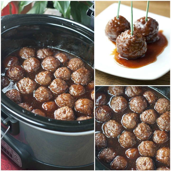 Crock Pot Grape Jelly BBQ Party Meatballs make the perfect appetizer for New Year's Eve.