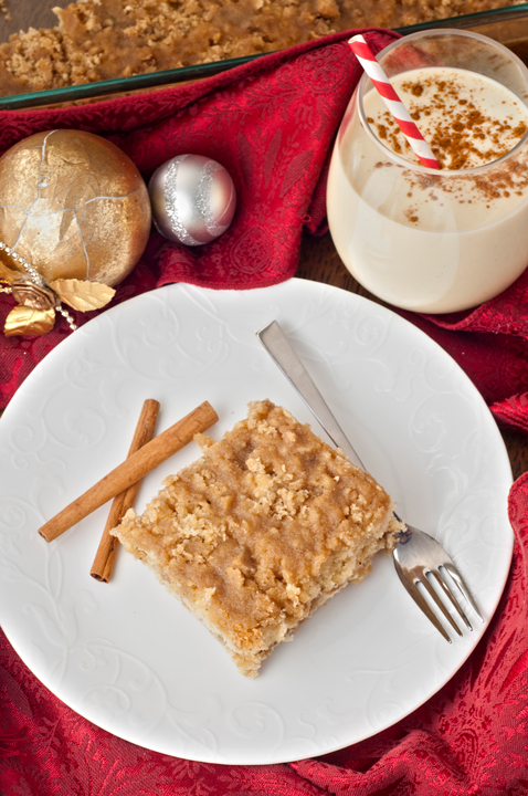 Eggnog Crumble Coffee Crunch Cake recipe is the perfect holiday dessert or Christmas breakfast to serve to your family and guests!