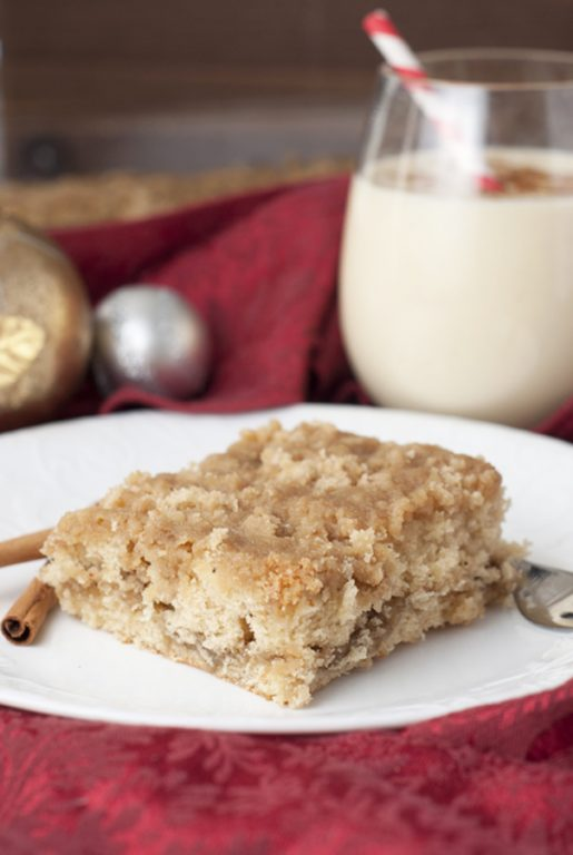 Eggnog Crumble Coffee Cake recipe is a great Christmas morning breakfast recipe!