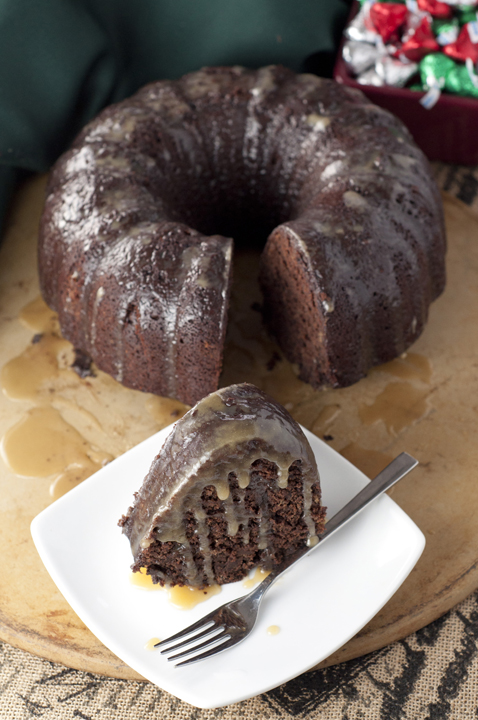 Hot Chocolate Coffee Rum Cake recipe made from scratch with brewed coffee, hot cocoa, and ton of rum! Great holiday dessert!