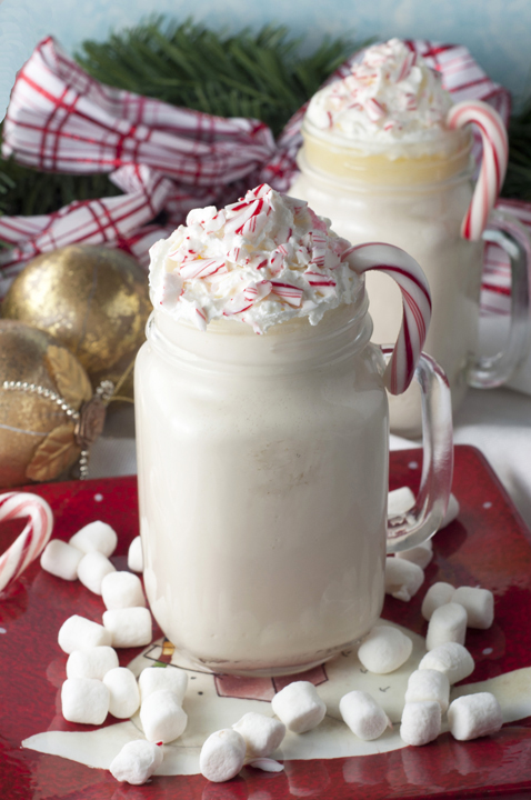 This recipe for creamy Crock Pot or Slow Cooker Snow Flake White Hot Chocolate is easy to make with only four ingredients! Great for Christmas parties!