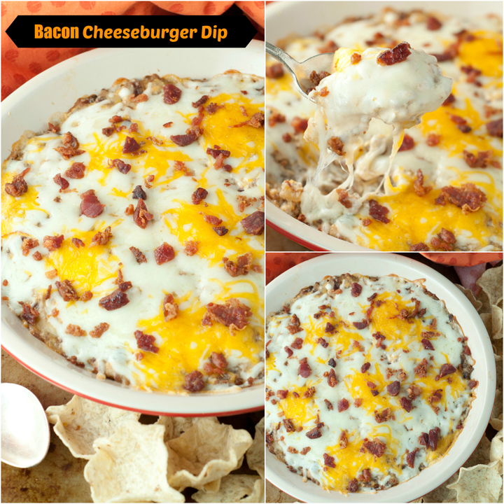 Hot, Cheesy Bacon Cheeseburger Dip appetizer recipe is the perfect Super Bowl snack and football food that has all of your favorite burger flavors made into a winning dip!