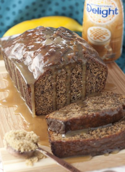 Caramel Macchiato Banana Bread recipe is great for breakfast, brunch or dessert - loaded with sweet banana and coffee flavor then topped off with a rich caramel glaze.