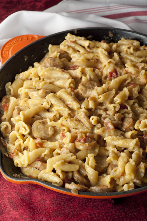 Creamy, Cheesy Chicken Sausage Pasta Skillet is a one pot meal and can be made in just 20 minutes!