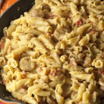 Cheesy Chicken Sausage Pasta Skillet