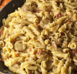 Creamy, Cheesy Chicken Sausage Pasta Skillet recipe is all made in one skillet and comes together in just 20 minutes!