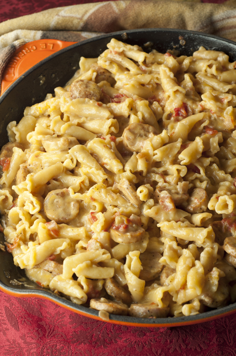 Creamy, Cheesy Chicken Sausage Pasta Skillet is all made in one skillet and comes together in just 20 minutes!