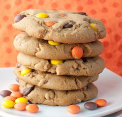Giant Reese's Pieces Chocolate Chip Cookies dessert recipe.