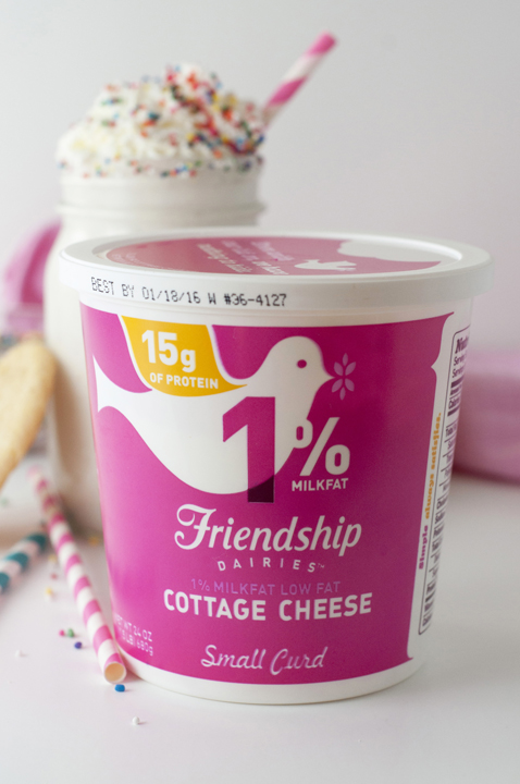 A recipe for Frosted Sugar Cookie Protein Smoothie or Shake with Friendship Dairies cottage cheese is a healthy, gluten free snack or breakfast.