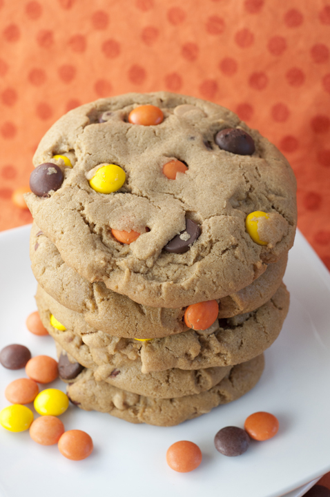 Giant Reese's Pieces Chocolate Chip Cookies are soft, thick, chewy cookies that are the perfect recipe for any cookie exchange or dessert party.