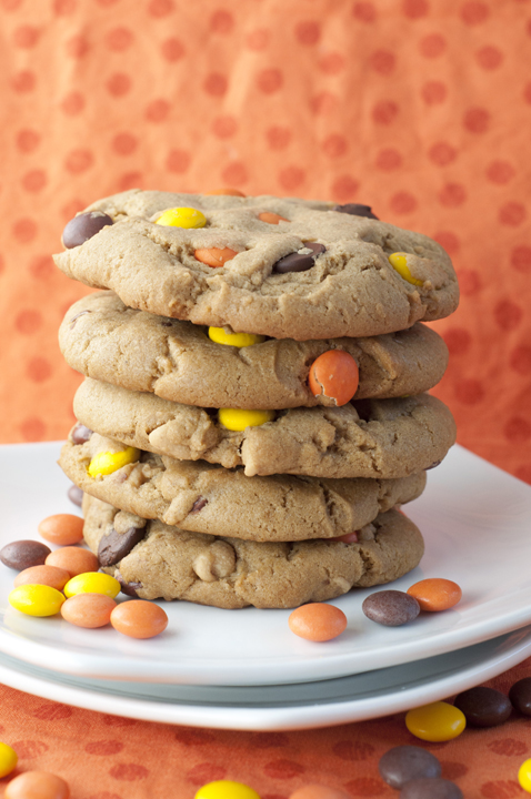 Giant Reese's Pieces Chocolate Chip Cookies are the perfect combination of peanut butter and chocolate. These are the absolute best soft, chewy, thick cookie recipe!