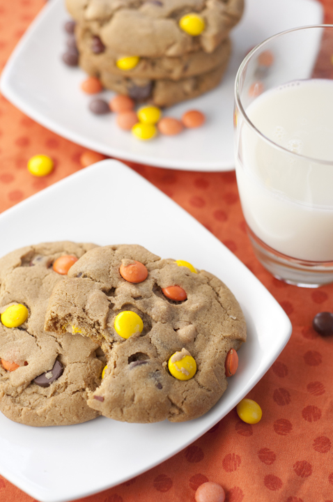 Giant Reese's Pieces Chocolate Chip Cookies are the perfect combination of peanut butter and chocolate with Reese's Pieces candy in them. Soft, thick, chewy, and amazing!
