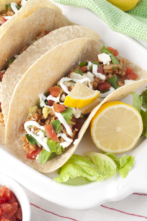 Greek Chicken Soft Tacos are made with ground chicken for an easy, low ...
