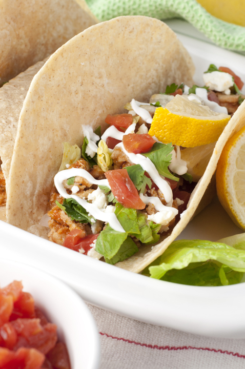 Greek Chicken Soft Tacos recipe are made in only 30 minutes and combine the flavors of Mexican tacos and Greek cuisine into one tasty, healthy, recipe!