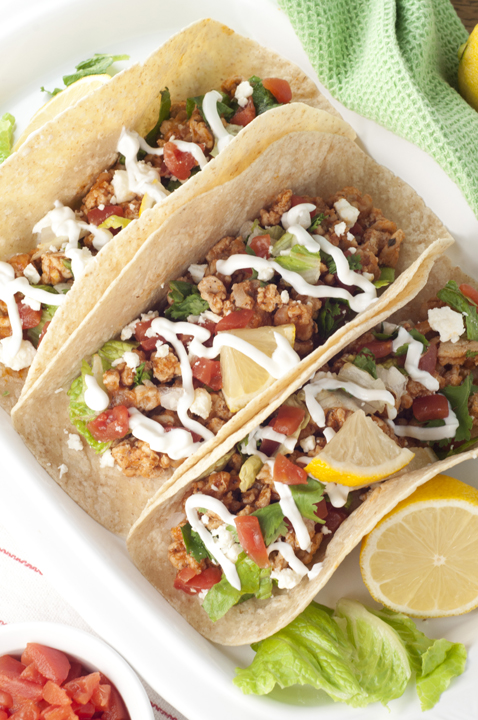Easy Greek Chicken Soft Tacos are made in only a half hour and combine the flavors of Mexican tacos and Greek cuisine into one tasty, healthy, recipe!