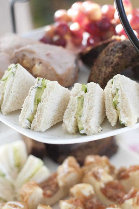Tea Cucumber Sandwiches and other sweet desserts for an afternoon tea party.