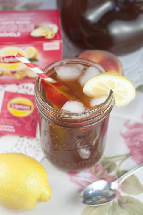 Southern Sweet Peach Iced Tea made with Lipton tea bags.