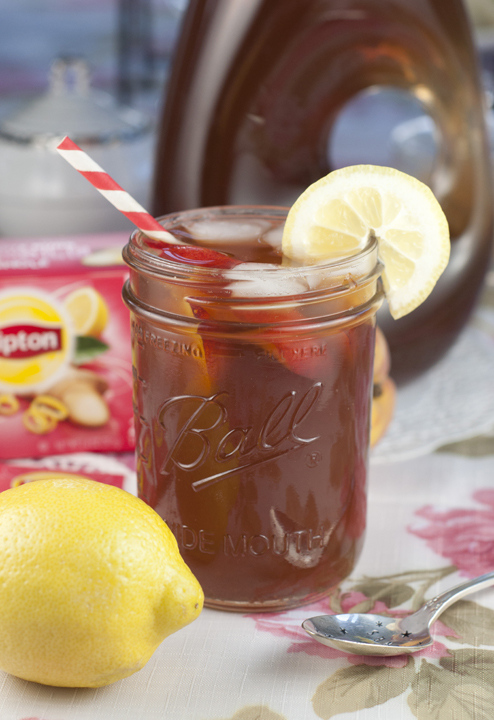 Peach Sweet Iced Tea tastes just like the southerners make their sweet tea and compliments any food you may be serving at a picnic, shower, holiday, or wedding. It is especially perfect for an afternoon tea party!