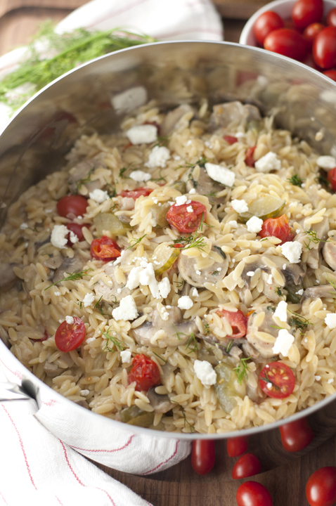 One Pan Creamy Greek Orzo with Chicken Sausage recipe - nothing says comfort food like a big bowl of creamy pasta packed full of veggies. It has all the Greek flavors you will love!